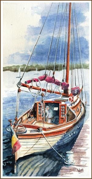 Old stylish sailing-sloop