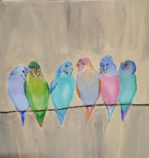Acrylic Painting - Parakeets