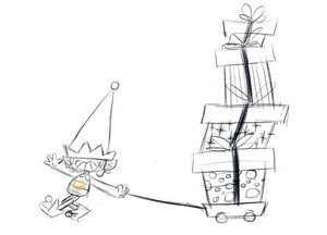 Gnome carrying gifts