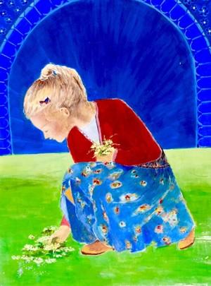 Little girl taking flowers