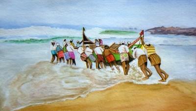 Men at Work - Original Water Color Painting