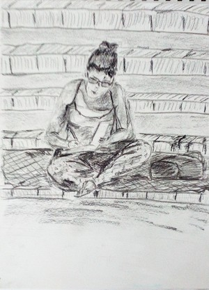 Toronto, seated woman at the park, stairs
