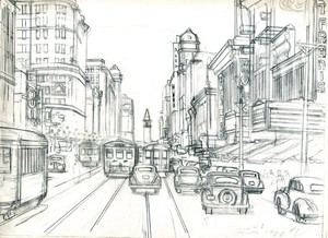 San Francisco: Market St.Near Powell St. ca. 1941