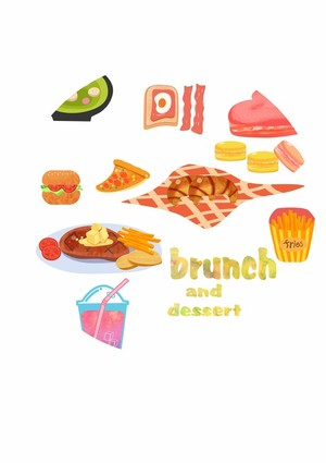 Brunch and dessert illustration
