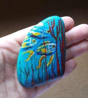 Hand painted rock art fish