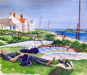 Relaxed windsurfer