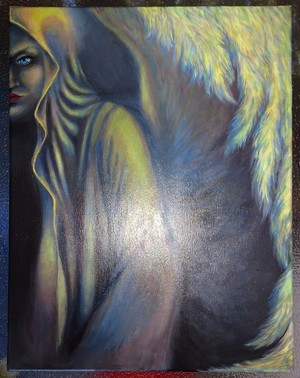 Acrylic painting angel of the light