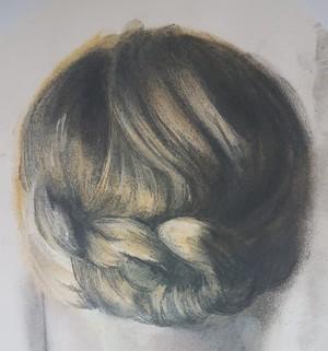 Sketch of blonde hair in plait
