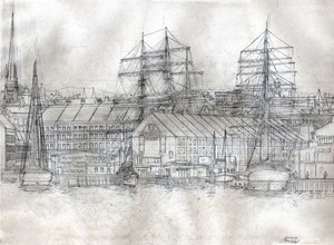 Boston Harbor and Commercial Wharf ca. 1877 Layout