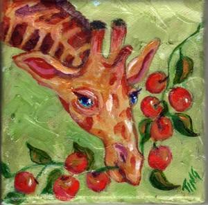 Giraffe munching on berries