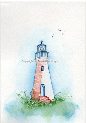Cockspur Lighthouse Watercolor