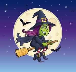 Witch Riding Broom with Full Moon