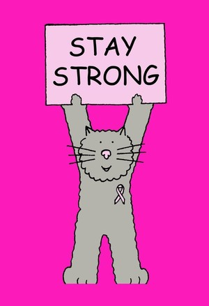 Stay strong breast cancer support cute cat.
