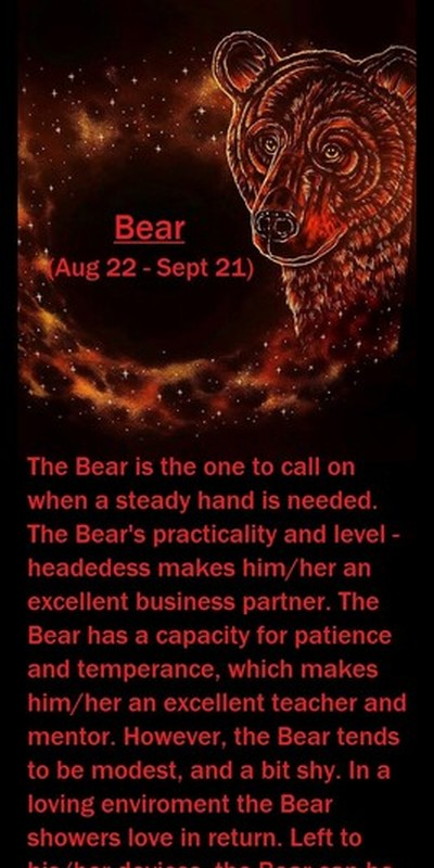 Native American Zodaic Sign, (Bear)