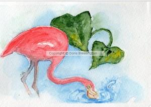 Flamingo watercolor 1
