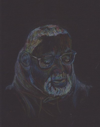 colored pencils on black paper
