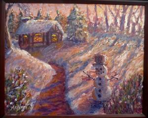 Winter Evening Snowman