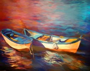 Canoes at dusk