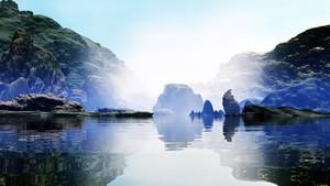Gorge with bluish fog