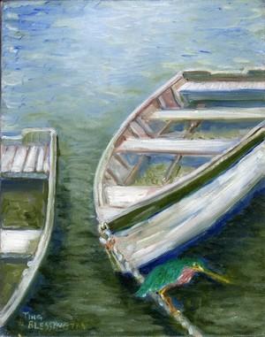 Little Green Heron on fishing Batteau