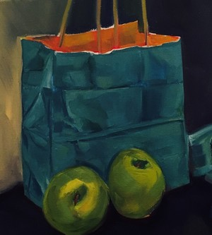 Green apples and blue bag