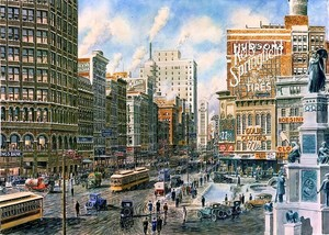 Detroit: Looking North On Woodward Ave. ca. 1920