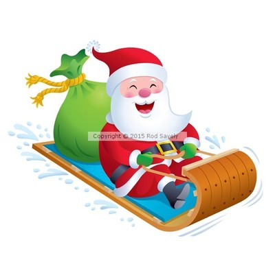 Santa Riding Toboggan Snow Sled