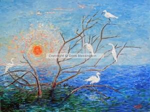 Egrets at Sunrise on Tybee Island