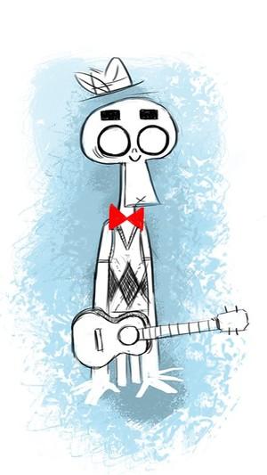 Señor Calaca con un ukelele