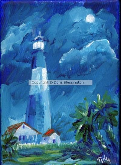Tybee Lighthouse Evening Moon   Mini#7