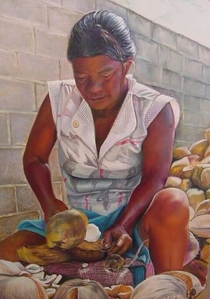 Woman coconuts