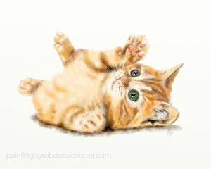 Baby Kittens - Orange Tabby Painting