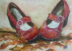 Red shoes and autumn leaves