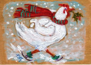 Skating Hen in Red Scarf