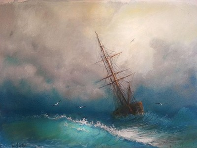 Ship in rough seas