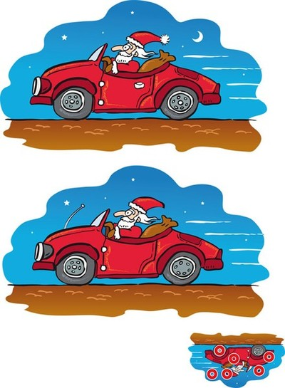 Santa Claus with car