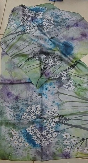 summer / watercolor art / silk scarf