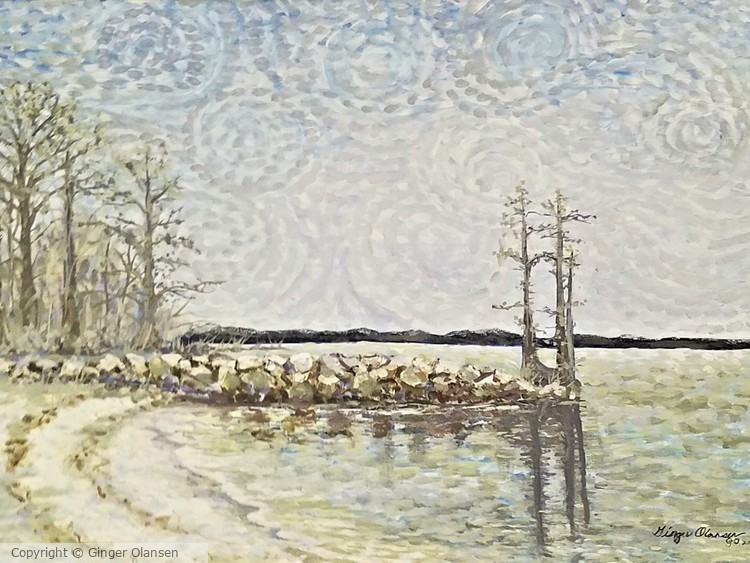 On Beach with Cypress Trees, Governor's Land