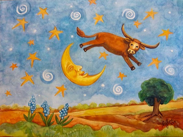 Longhorn Jumping the Moon