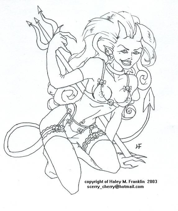Devil Girl Tattoo design 2 by Haley Franklin | ArtWanted.com