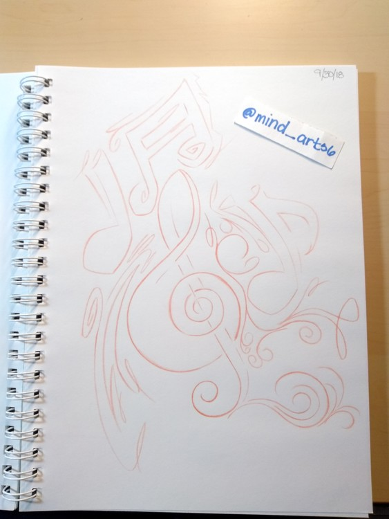 Graffiti styled musical notes sketch