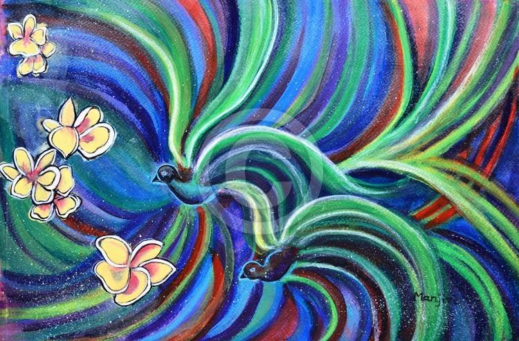 Bird Symphony With Frangipani Painting by Manjiri
