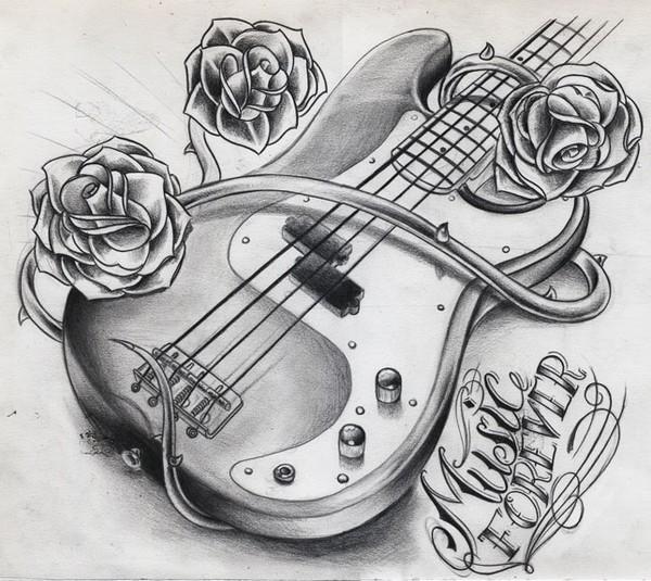 guitar tattoo design by Willem Janssen | ArtWanted.com