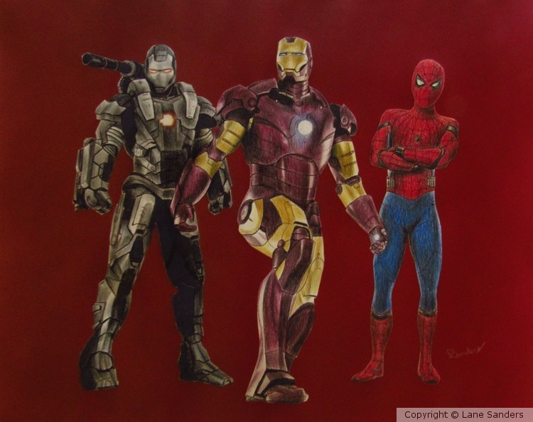 Iron Man, Spiderman, and War Machine