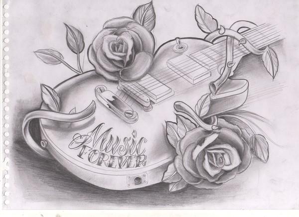 guitar tattoo design 2 by willem janssen. Black Bedroom Furniture Sets. Home Design Ideas