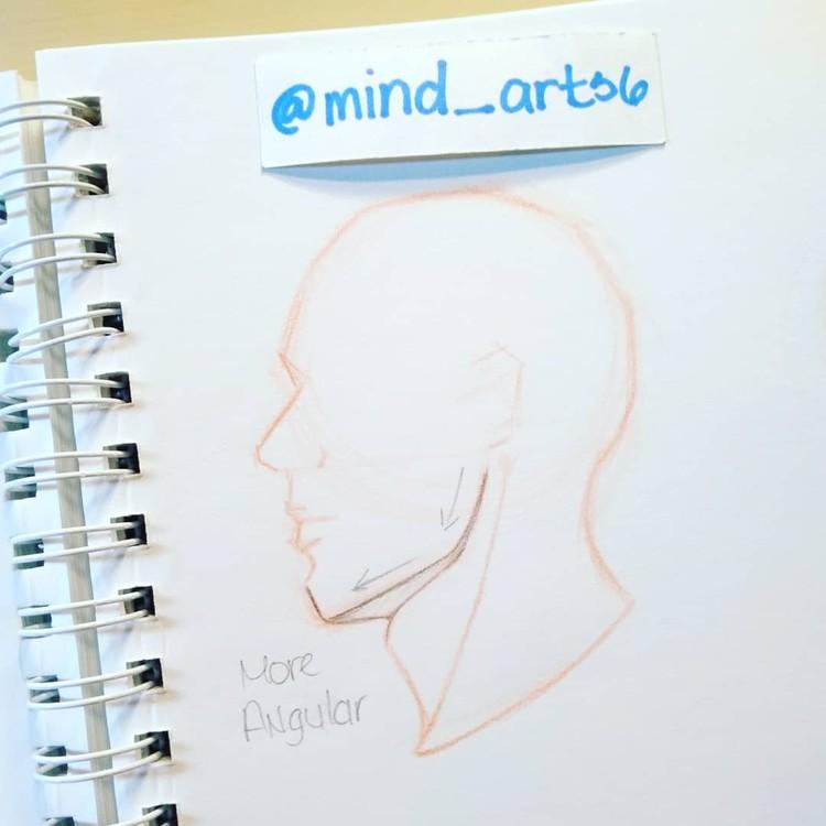 Side head jawline sketch