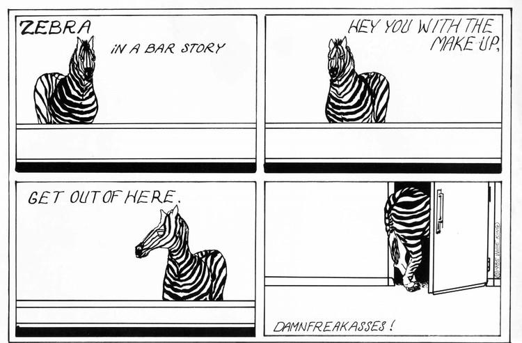 Zebra in a Bar