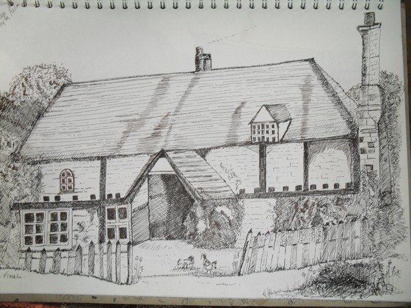 Pen And Ink Drawing Of An English Country Cottage