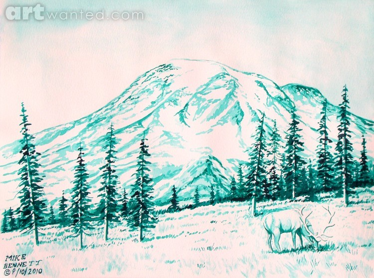 Mt. Rainier - Monochromatic