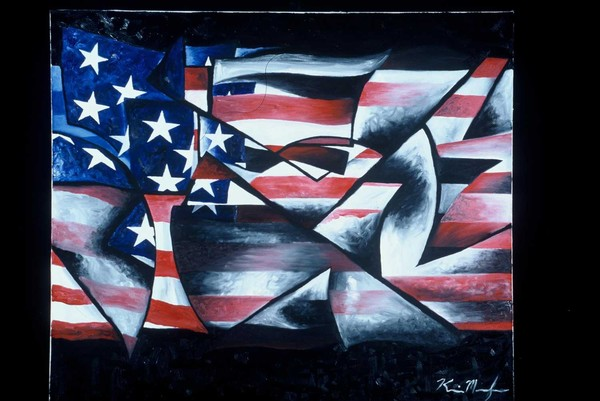 American Flag Abstract  Abstract American Flag Painting